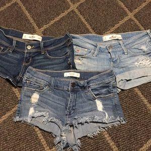 Hollister & Abercrombie Denim Shorts Sz 0, W24 W25
